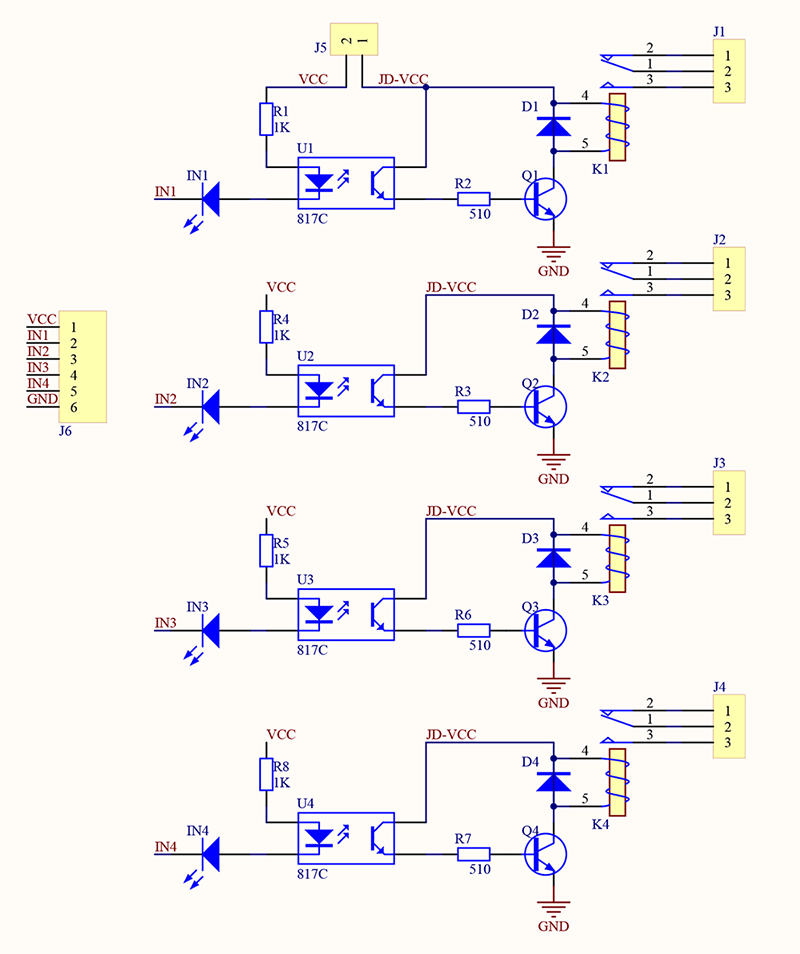 4 ingressi  Circuito stampa Relay Board Scheda 4 Rele